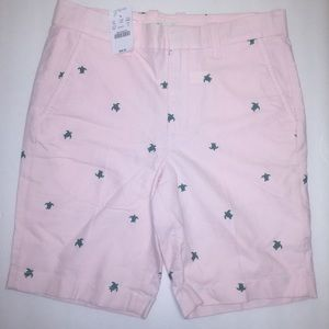 NWT Crewcuts Chino Shorts. Pink w/green Turtles.